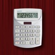 Paquete de 10 calculadoras  8 dígitos, cubierta metálica, dual power