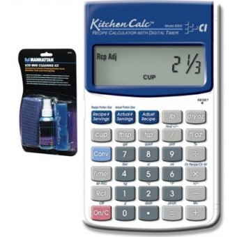 Calculadora Kitchen Calc y Kit de Limpieza para Electronicos Manhattan (Paquete Duo Chef)